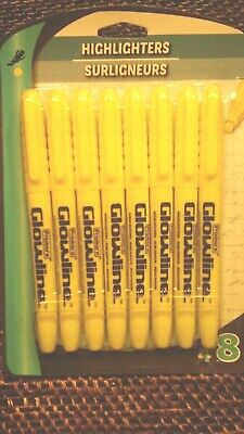 Promarx Glowline Highlighters Chisel Tip 8 Pk Yellow New Free Shipping