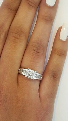 14K White Gold Princess Channel Set 1.75 ct Diamond Engagement Wedding Ring