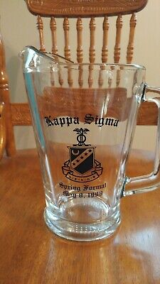 Kappa Sigma Fraternity 1999 Spring Formal glass pitcher with Crest Shield