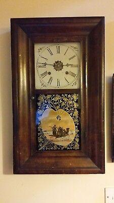1870'S ANTIQUE AMERICAN WATERBURY WALL / SHELF 30HR OG CLOCK GOOD WORKING ORDER
