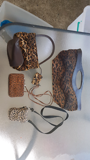 Leopard print hand bags