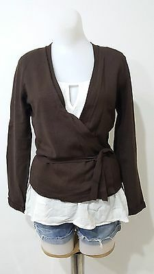 Ronen Chen Womens Brown Knit Wrap Top Sweater Long Sleeve Size S