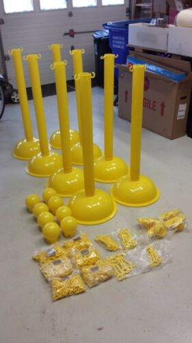 Heavy Duty Stanchion Kits with 8 Posts and Chains for Crowd Control