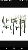 Glass and metal dinette set CHAIRS INCLUDED