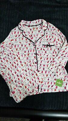 Kate Spade Pajama PJs Set Dream A Little Dream Lipstick Colors Pink XL NWT NEW