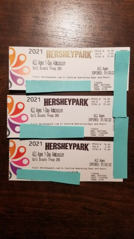 3 Hershey Park Tickets Good For All Of 2021. Still Open In Oct/Nov/Dec. All Ages