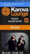 2× tickets Boo Seeka @ Karova Lounge Ballarat Macedon Ranges Preview
