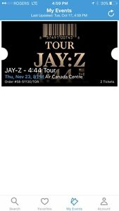 Two jay Z tickets for sale for nov 23