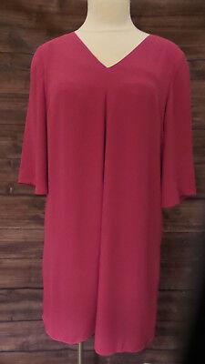 DR2 By Daniel Rainn Pink Dress V Neck Criss Cross Back Women's Size Medium (Daniel Criss)