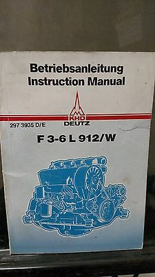 Khd Deutz F 3-6 L 912w Diesel Engine Instruction  Manual