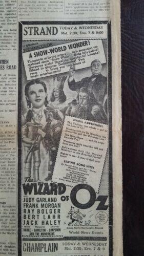 1939 Newspaper The Wizard Of Oz Judy Garland Theatre Advertisement New Movie #2