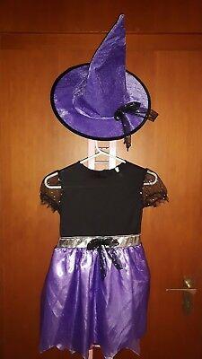 Kostüm zauberhafte Hexe Lila mit Hut Gr. 6-7 Jahre *neu* ()