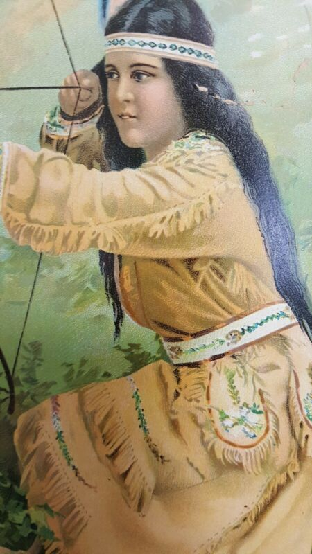 1906 Lithograph Native American Woman Kneeling Bow-Arrow in Position