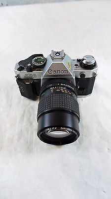 Canon AE-1 35mm Film Manual Camera with Focal 135mm F/2.8 Lens - Nice!