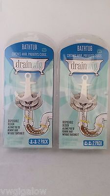 DRAINWIG 2x 2 Pk catches hair Cleaner Bathroom Prevents clogs US SELLER for sale  Shipping to India