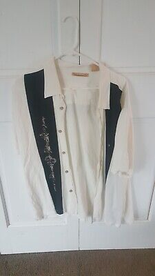 The Havanera Shirt Co Men's size XXL Button Up White Shirt with Black Stripe
