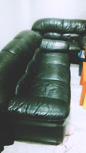 Large black leather couch and loveseat $250 total