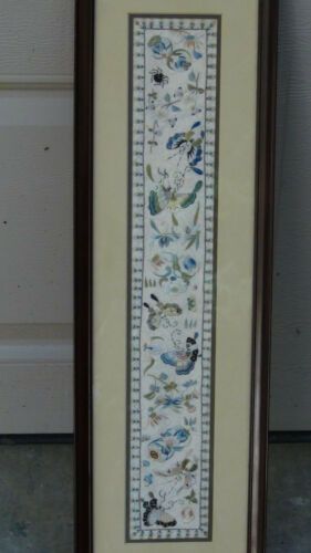 ANTIQUE 19c JAPANESE SILK EMBROIDERY W/BUTTERFLIES,MOTHS,SPIDERS&PLANTS,FRAMED