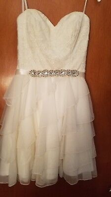 Cute white ruffle sparkle lace diamond short strapless party dress Size 3
