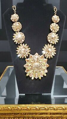 Gold Versace Blooming Medusa Crystal Necklace as seen on Donatella @'19 MET GALA