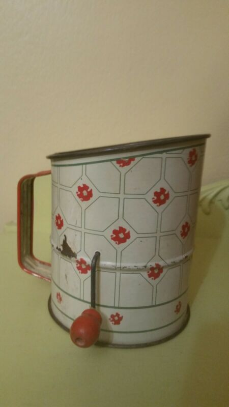 Vintage Flour Sifter Grid W/ Red Flowers