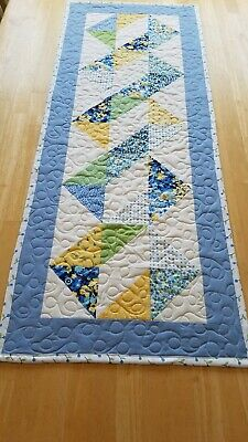 Handmade quilted table runner blue, yellow and green on white