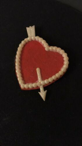 VINTAGE HANDMADE HEART PIN BROOCH SWEETHEART VALENTINE PIN 1940