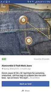 Abercrombie & Finch Mens Jeans New unworn Concord West Canada Bay Area Preview