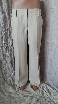 Iris Von Arnim beige ivory striped 100% linen straight trousers size 40, mint