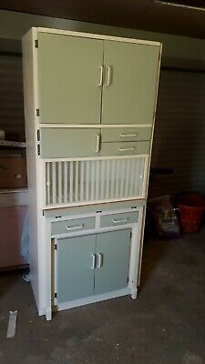 VINTAGE 1950s KITCHEN CABINET WITH PULL OUT WORK TABLE - FULLY REFURBISHED