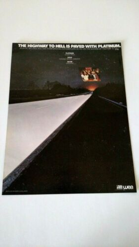 AC/DC THE HIGHWAY TO HELL  1980 RARE ORIGINAL PRINT PROMO POSTER AD