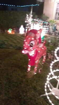 """CHRISTMAS HOLIDAY RUDOLPH REINDEER  OUTDOOR LIGHTED ORNAMENT 45"""" TALL 150 LIGHTS"""