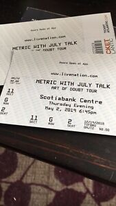 2 Metric and July talk tickets