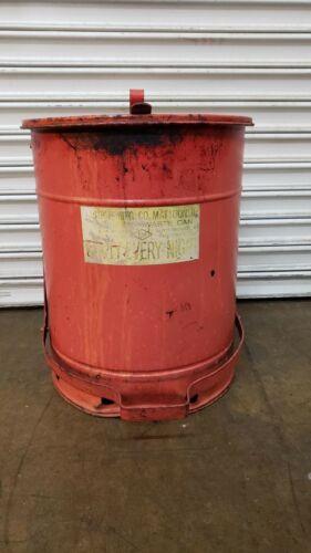 Vintage Justrite MFG Co. Shop Metal Safety Rag Can