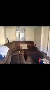 Chocolate brown sectional couch with recliner