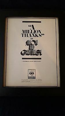 Simon And Garfunkel Rare Original CBS Sony Japan Records Promo Poster Ad Framed!