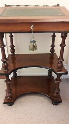 Victorian Rosewood or Mahogany Davenport + display shelves Brass Gallery Ex Con