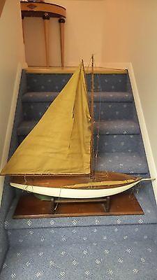 Antique Pond Boat Ship Model Wood Sailboat Rare
