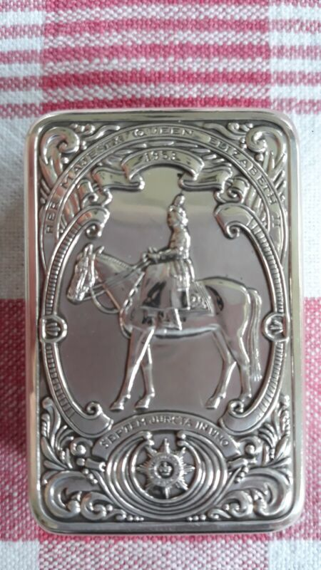 Franklin Mint Queen Elizabeth II Guards Regiment Sterling Silver Box