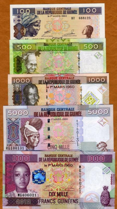 Guinea SET 100;500;1000;5000;10000 Francs 2006-2019, UNC
