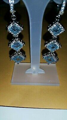Blue Sapphire Drop Dangle Earrings QVC / HSN. CLOROX USED HOME