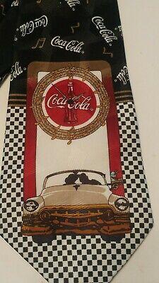 "1950s Men's Ties, Bow Ties – Vintage, Skinny, Knit Coca Cola Coke Tie 1950s Rock Around the Clock Neck Tie Red Black Logo 57"" $13.50 AT vintagedancer.com"