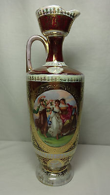 Vintage Antique Austria Porcelain Art Pottery Ewer Urn Vase Lady Scene