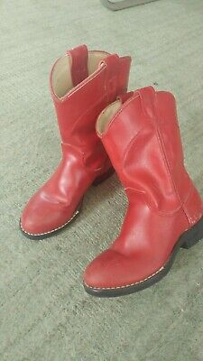 Girls American Made Cowboy Boots by BRONO -  Red  Size 11 1/2 D  Adorable Boots!