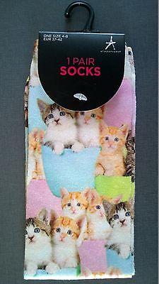 Damen Foto Socken Strümpfe Katzen Babies Kätzchen Cute Kitten Bunt 37-42 Primark