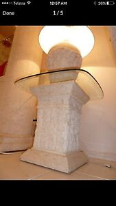 FOSSIL STONE LAMP TABLE WITH GLASS TOP GREAT CONDITION Brisbane City Brisbane North West Preview