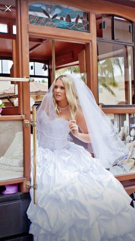 Wedding Dress Satin With Custom Swarovski crystals. Size 10