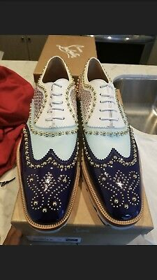 Authentic RARE Christian Louboutin Mens Crapamale navy multicolor dress shoe 45