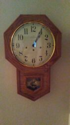 Vintage Hamilton Headmaster Solid Oak Wind-Up Chime Wall Clock