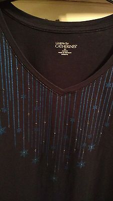 Liz   Me For Catherines L  Sleeve Top  Navy  Size 2X 22 24W  Nice